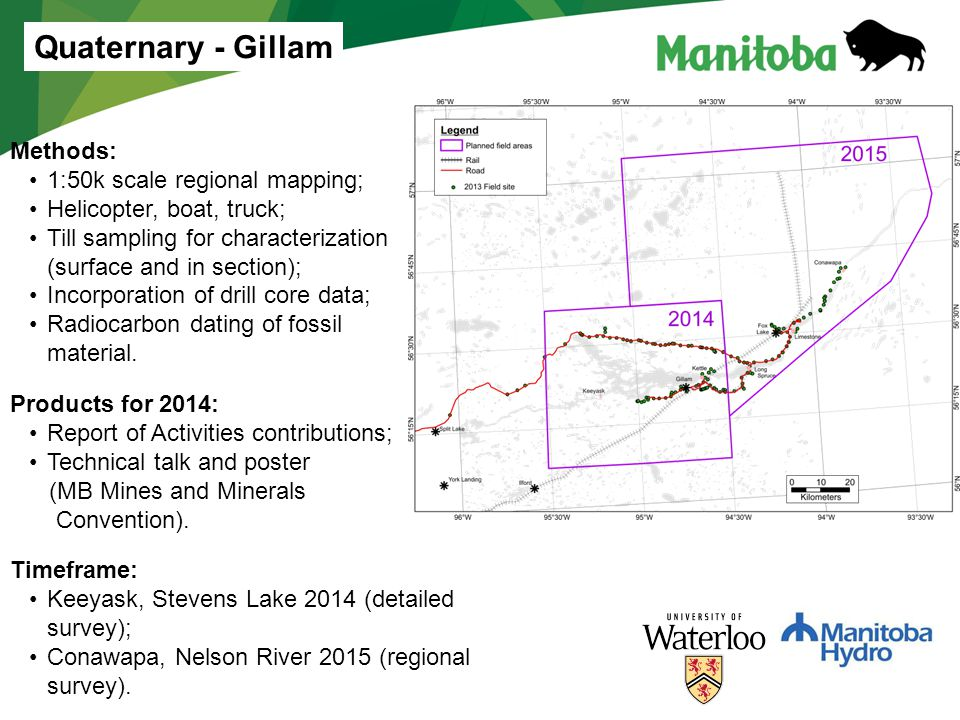 Quaternary - Gillam Methods: 1:50k scale regional mapping;