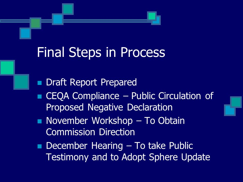 Final Steps in Process Draft Report Prepared