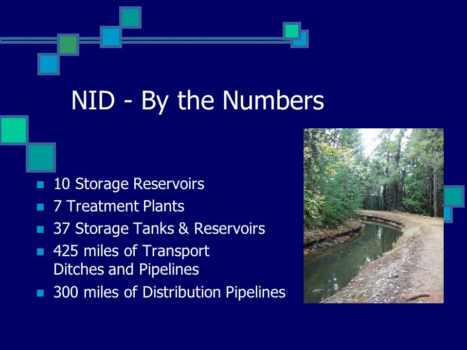 NID - By the Numbers 10 Storage Reservoirs 7 Treatment Plants