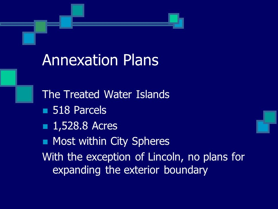 Annexation Plans The Treated Water Islands 518 Parcels 1,528.8 Acres