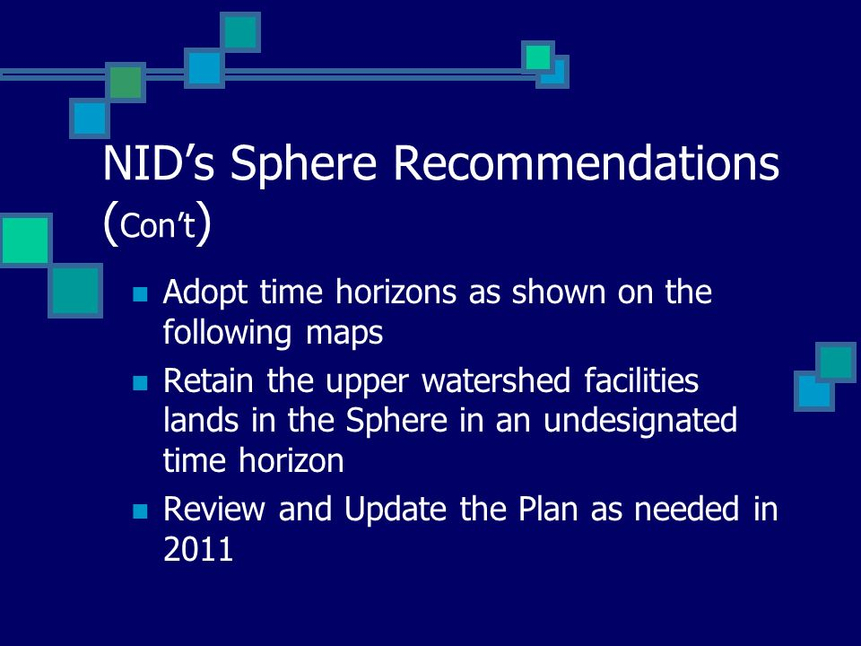 NID's Sphere Recommendations (Con't)