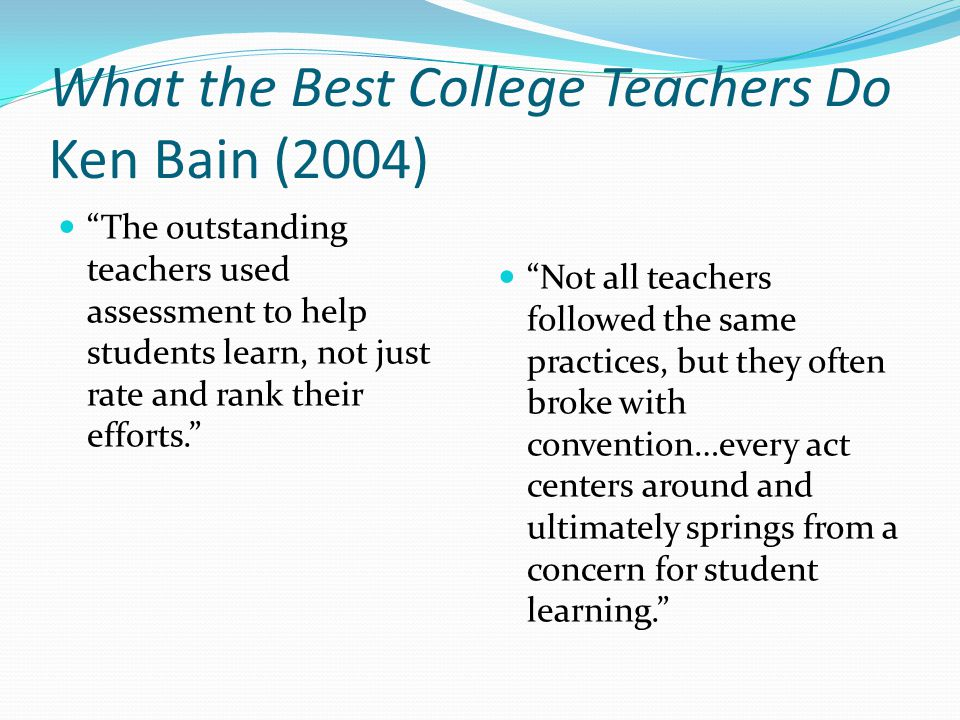 What the Best College Teachers Do Ken Bain (2004)