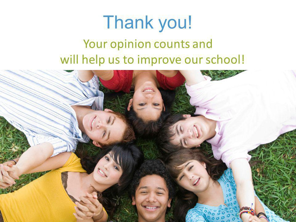 Your opinion counts and will help us to improve our school!