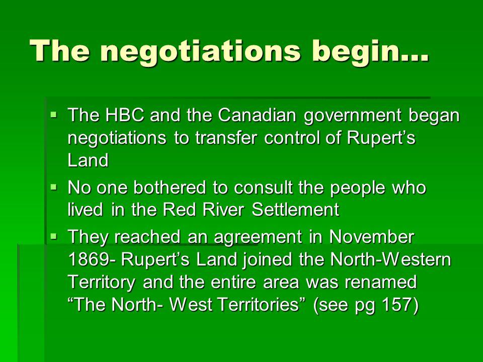 The negotiations begin…