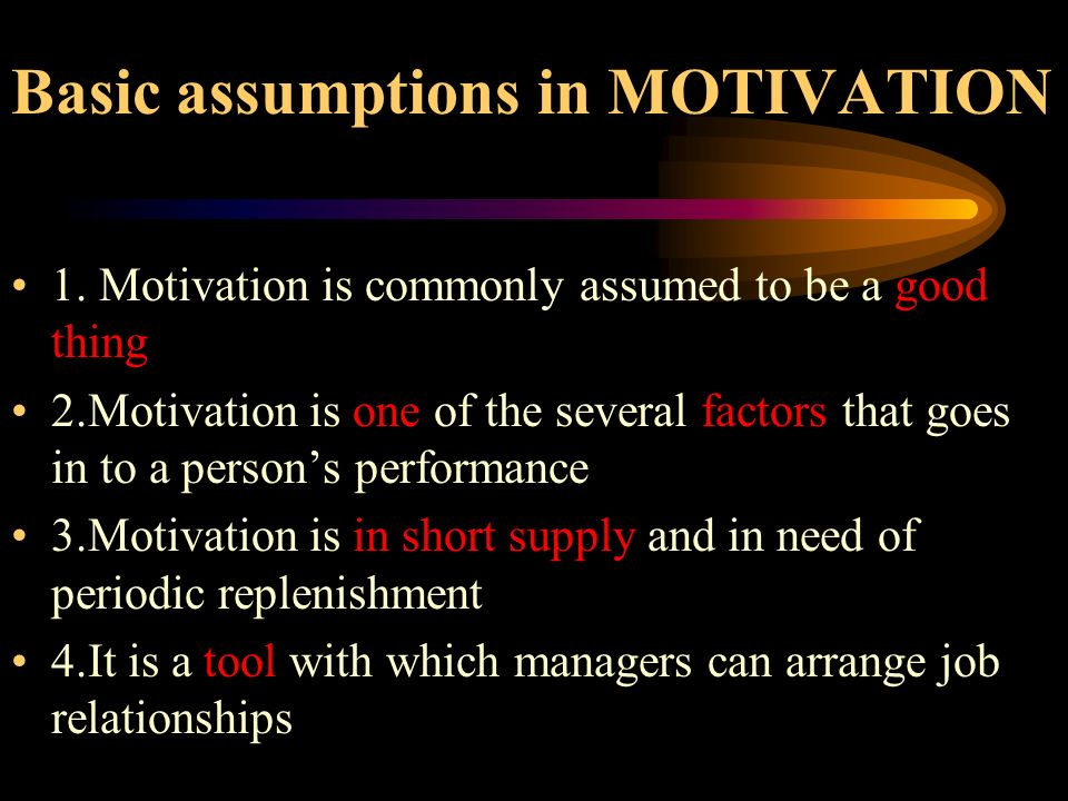 Basic assumptions in MOTIVATION