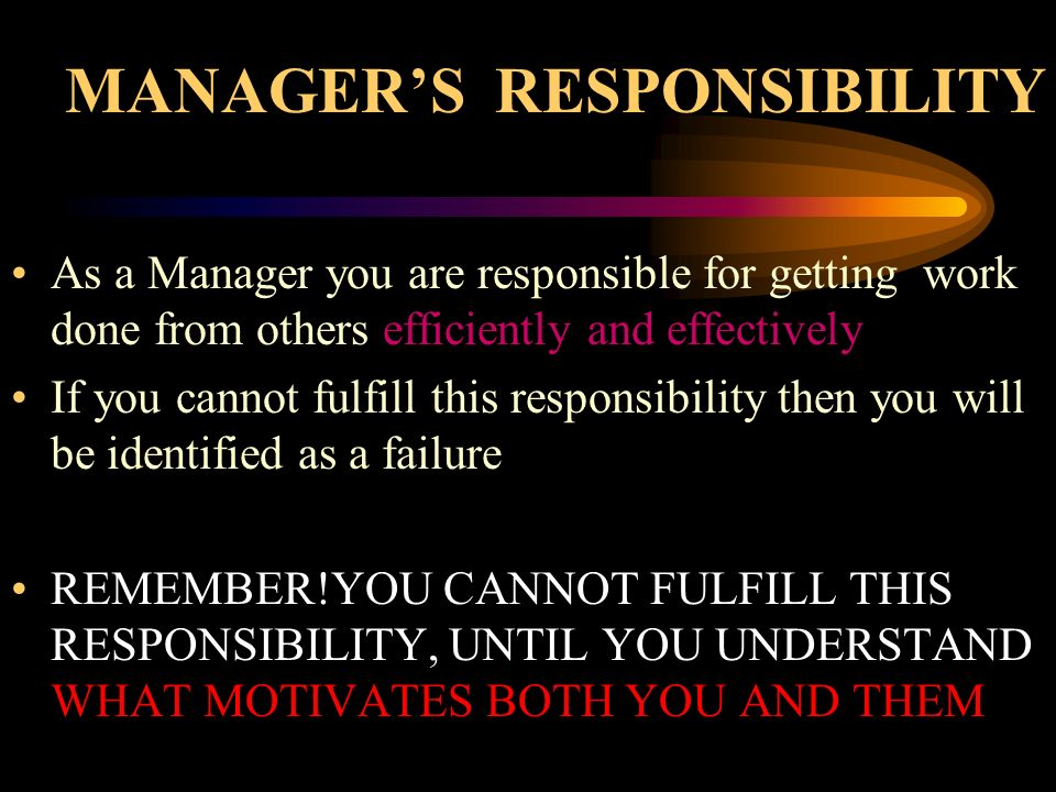 MANAGER'S RESPONSIBILITY