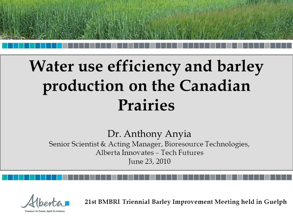 Water use efficiency and barley production on the Canadian Prairies