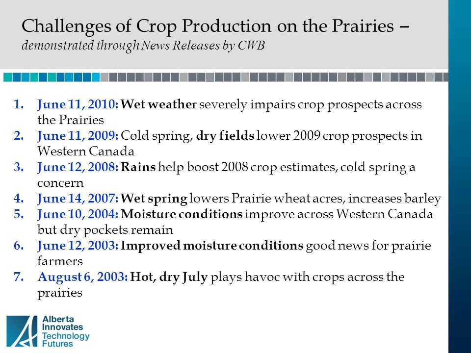 Challenges of Crop Production on the Prairies –demonstrated through News Releases by CWB