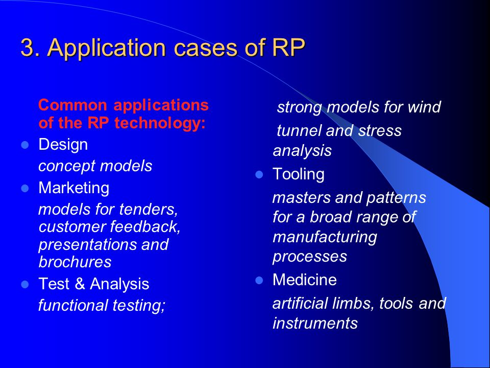3. Application cases of RP
