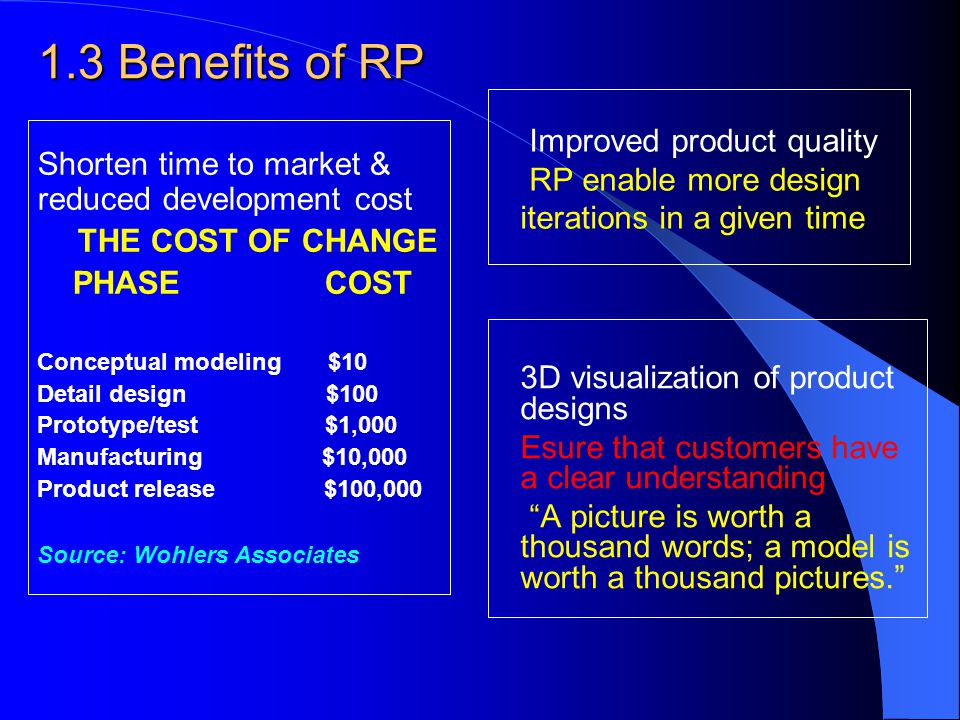 1.3 Benefits of RP Improved product quality