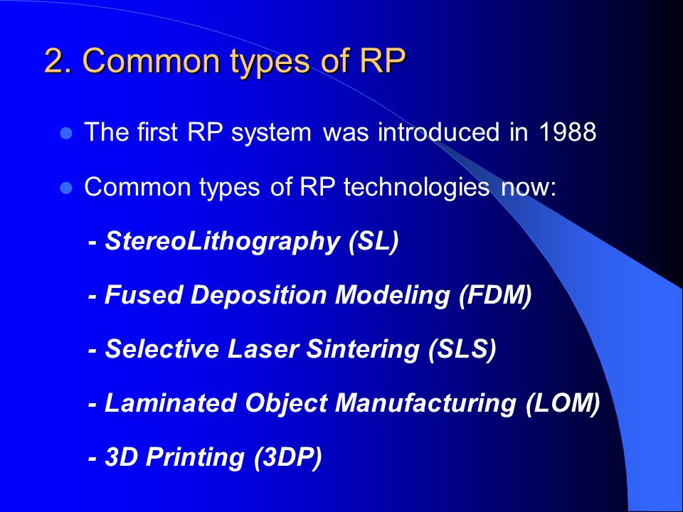 2. Common types of RP The first RP system was introduced in 1988