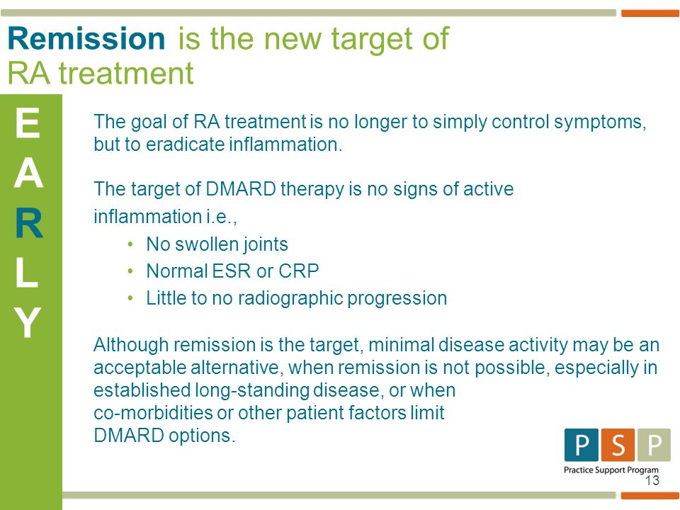 E AR L Y Remission is the new target of RA treatment