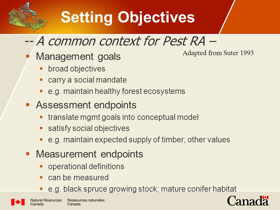 -- A common context for Pest RA – Adapted from Suter 1993