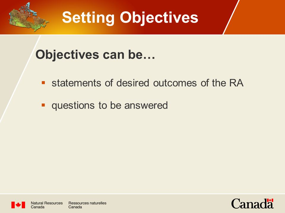 Setting Objectives Objectives can be…