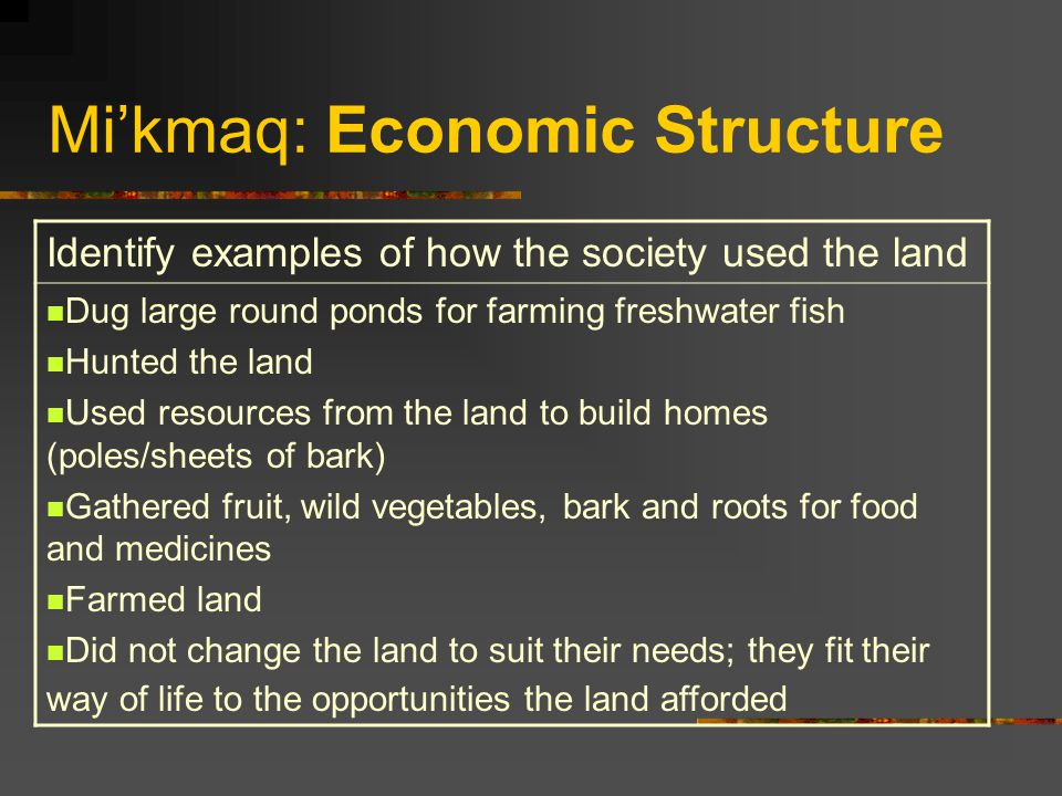 Mi'kmaq: Economic Structure