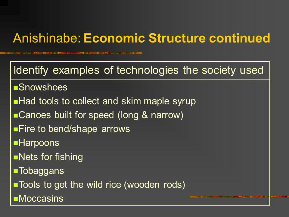 Anishinabe: Economic Structure continued