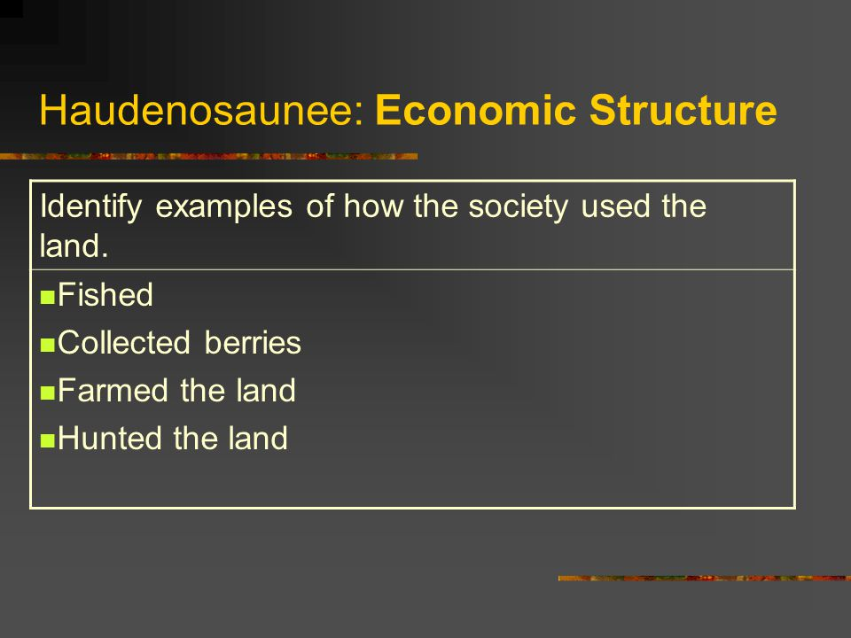 Haudenosaunee: Economic Structure