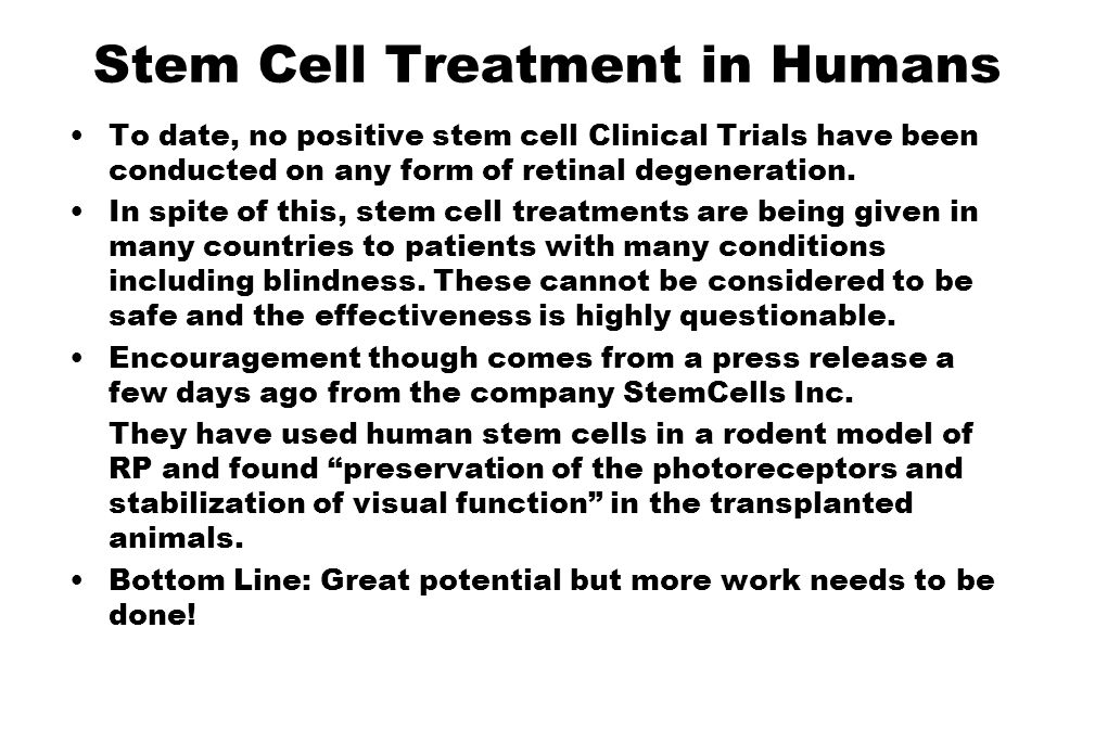 Stem Cell Treatment in Humans
