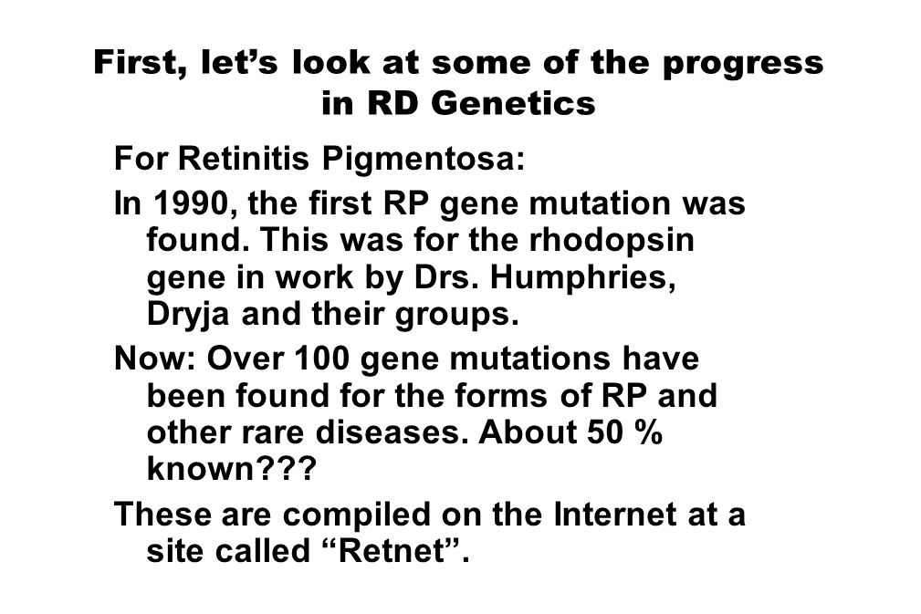 First, let's look at some of the progress in RD Genetics