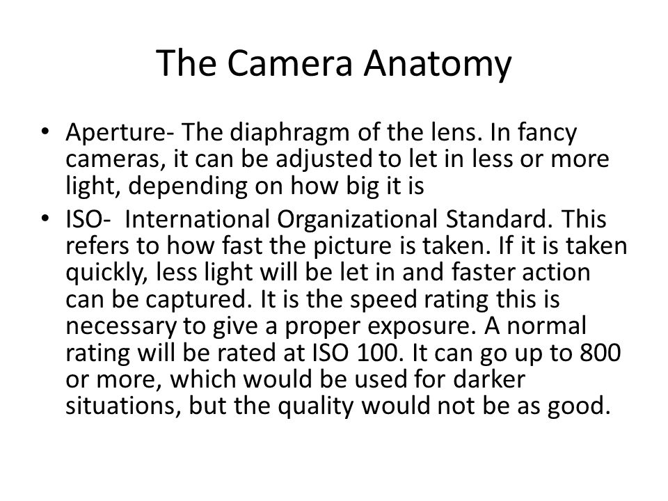 The Camera Anatomy Aperture- The diaphragm of the lens. In fancy cameras, it can be adjusted to let in less or more light, depending on how big it is.