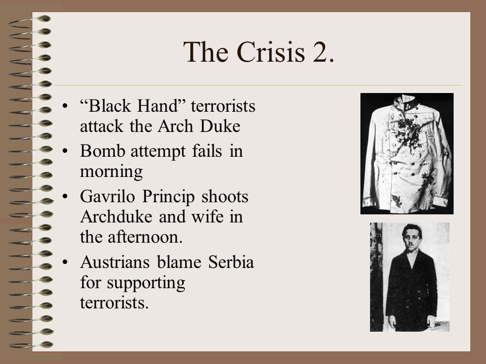 The Crisis 2. Black Hand terrorists attack the Arch Duke