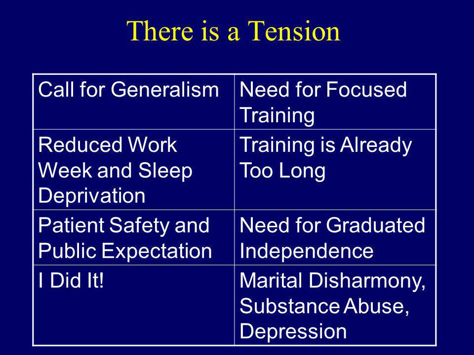 There is a Tension Call for Generalism Need for Focused Training