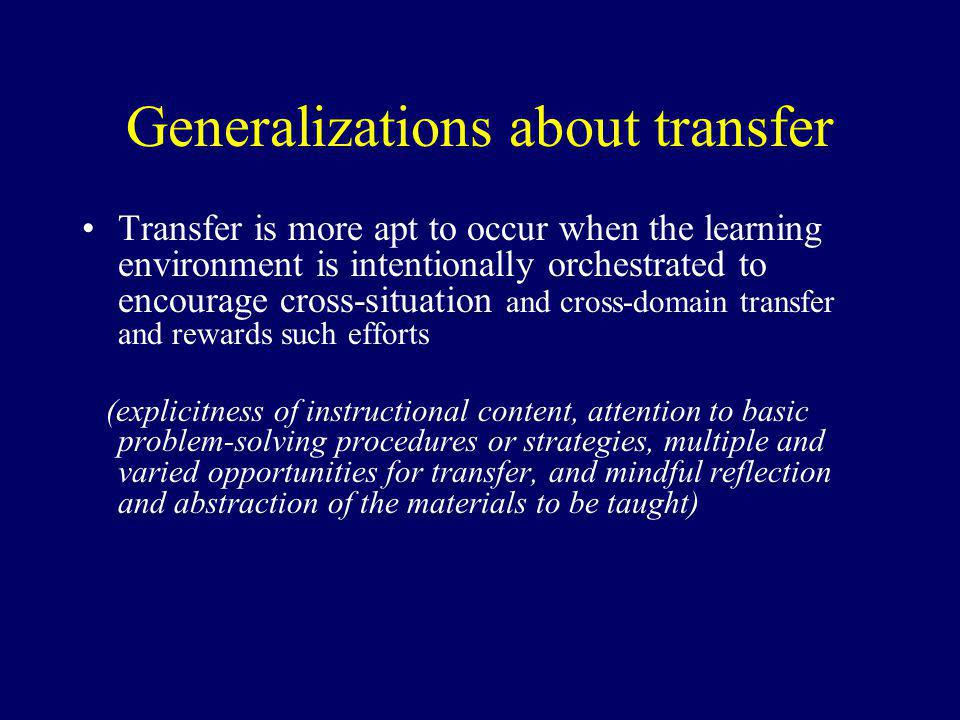 Generalizations about transfer