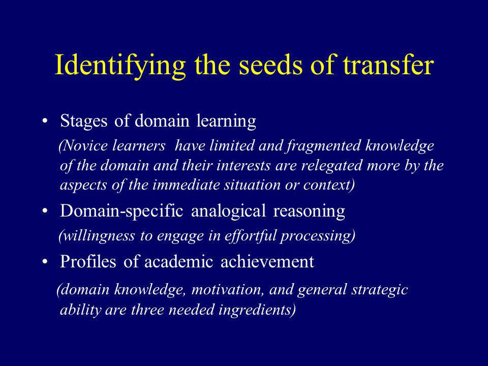 Identifying the seeds of transfer