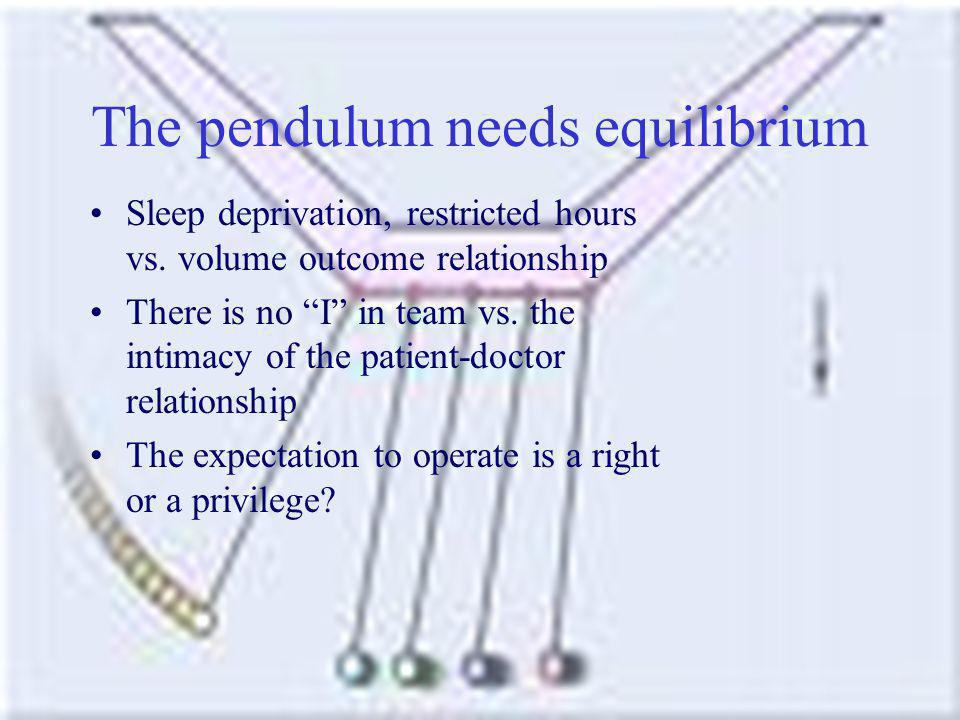 The pendulum needs equilibrium