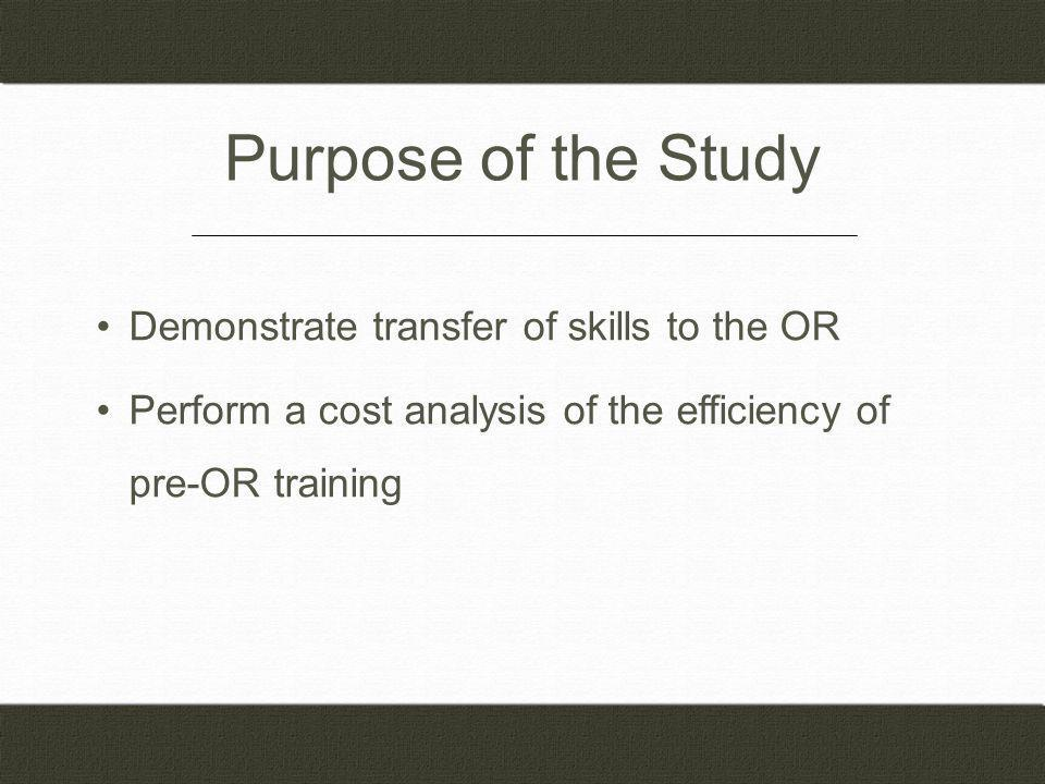 Purpose of the Study Demonstrate transfer of skills to the OR