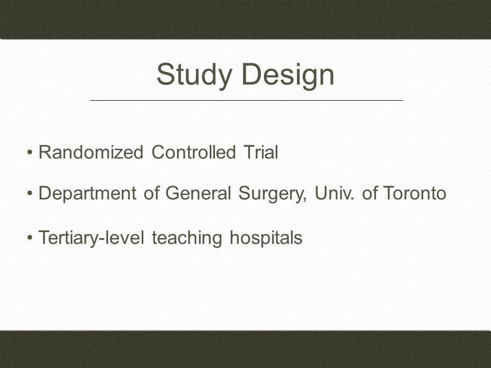 Study Design Randomized Controlled Trial