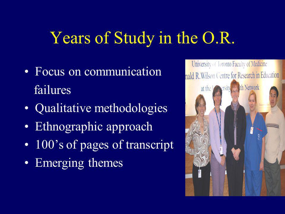 Years of Study in the O.R. Focus on communication failures