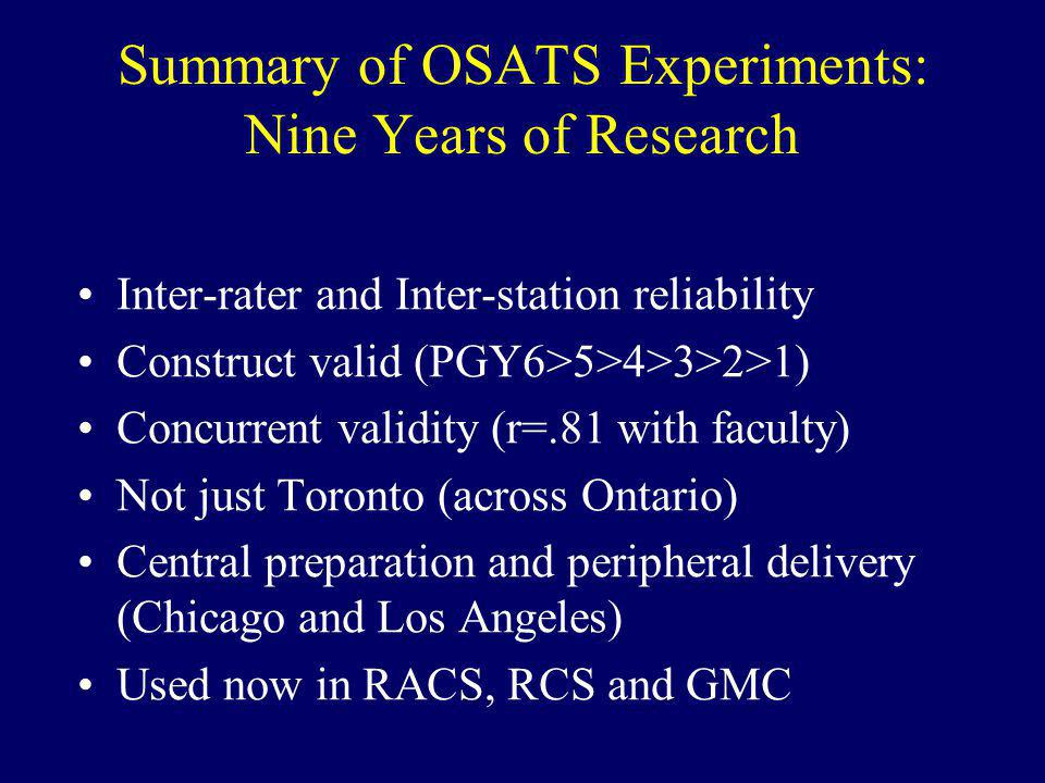 Summary of OSATS Experiments: Nine Years of Research
