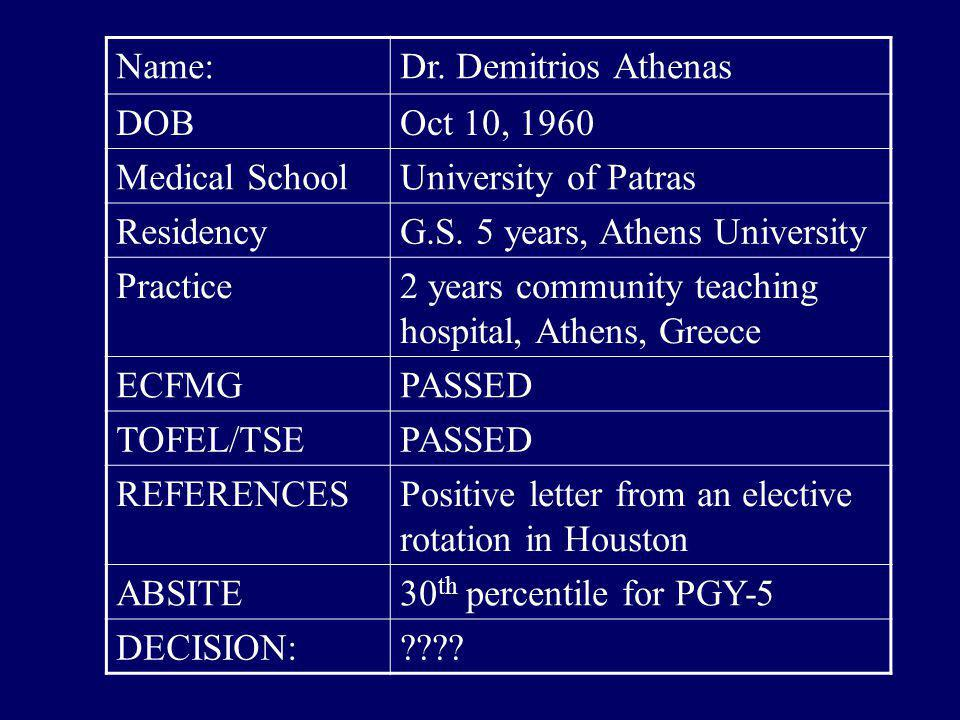 Name: Dr. Demitrios Athenas. DOB. Oct 10, 1960. Medical School. University of Patras. Residency.