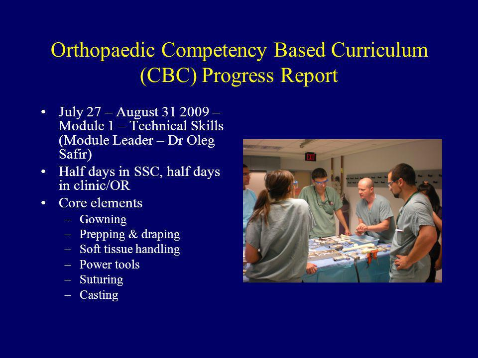 Orthopaedic Competency Based Curriculum (CBC) Progress Report