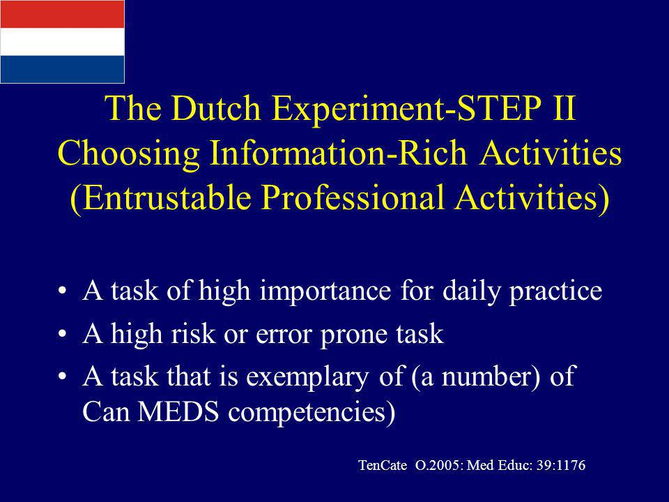 The Dutch Experiment-STEP II Choosing Information-Rich Activities (Entrustable Professional Activities)
