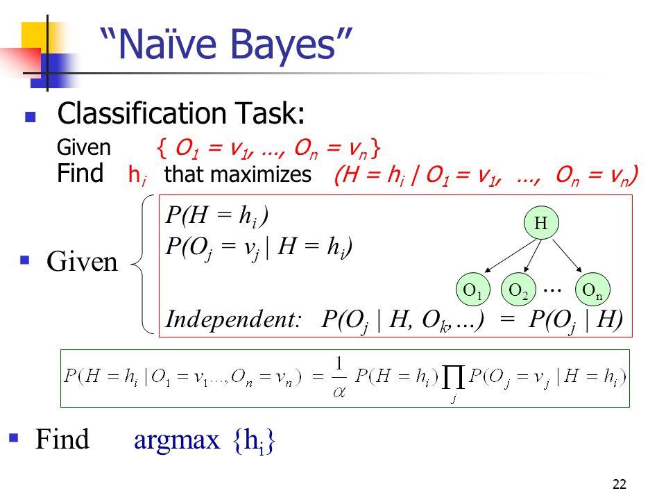Naïve Bayes Classification Task: Given Find argmax {hi} ...