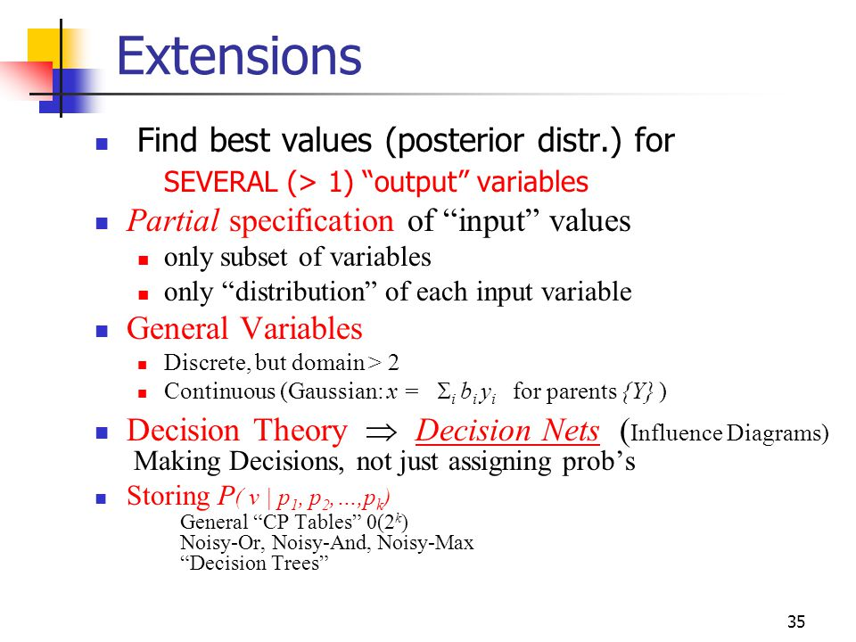 Extensions Find best values (posterior distr.) for