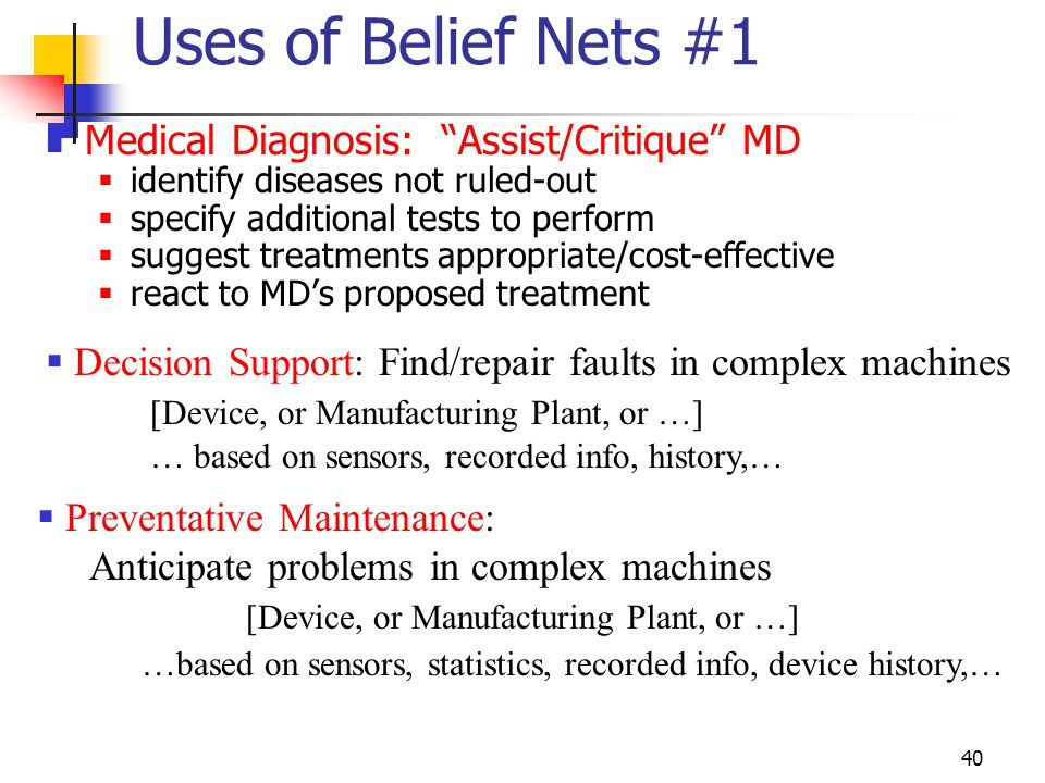 Uses of Belief Nets #1 Medical Diagnosis: Assist/Critique MD