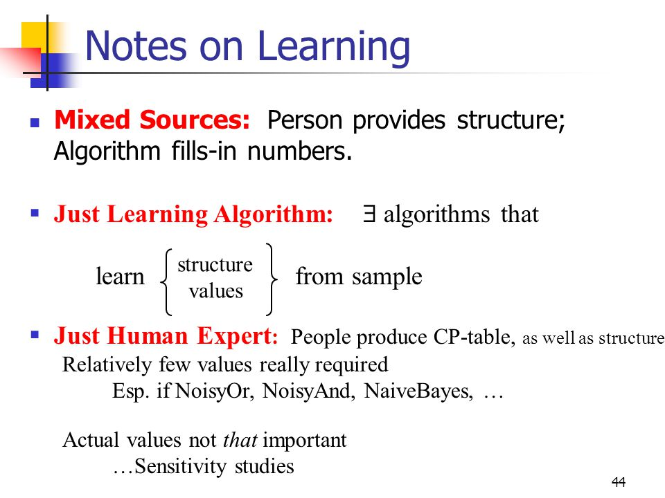Notes on Learning Mixed Sources: Person provides structure;