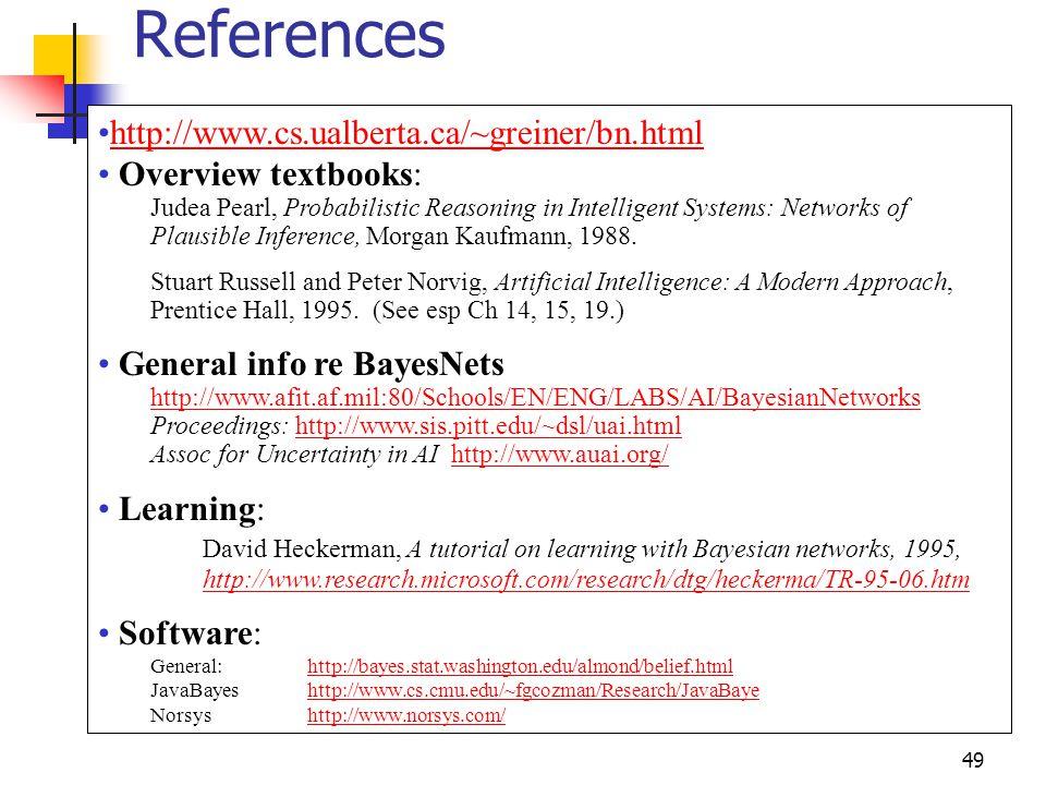 References http://www.cs.ualberta.ca/~greiner/bn.html
