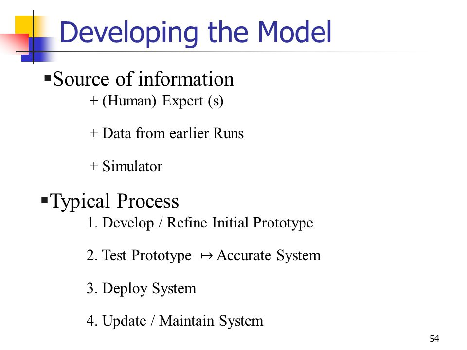 Developing the Model Source of information Typical Process