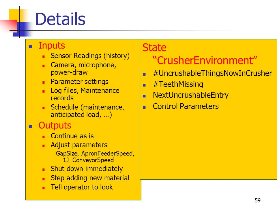Details State CrusherEnvironment Inputs Outputs