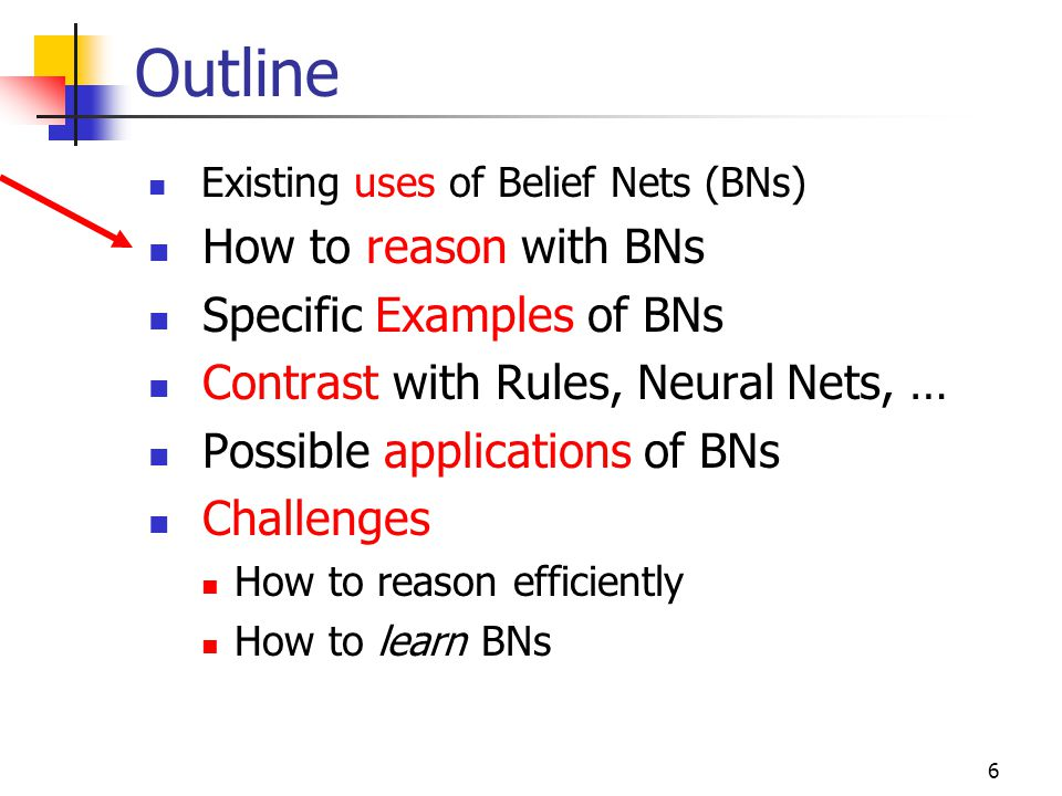 Outline How to reason with BNs Specific Examples of BNs
