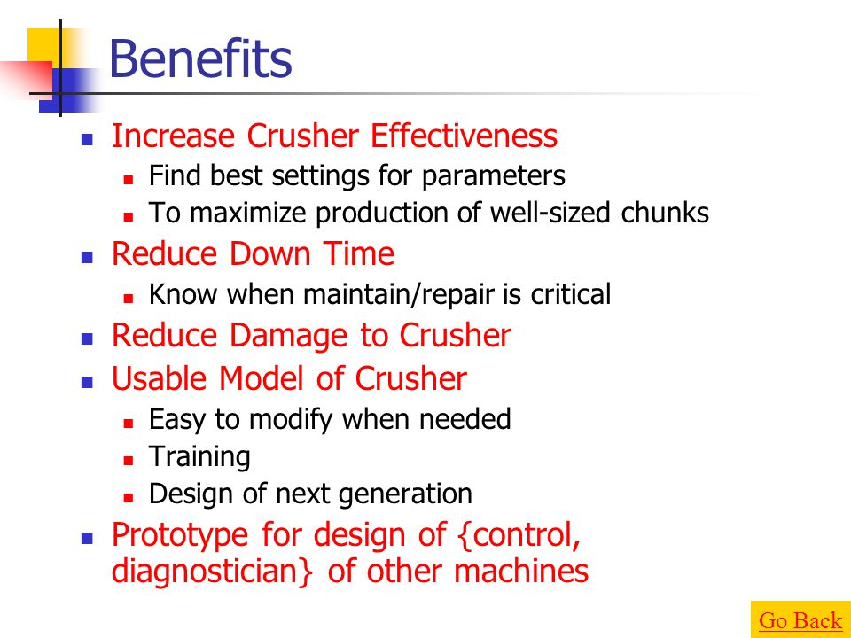 Benefits Increase Crusher Effectiveness Reduce Down Time