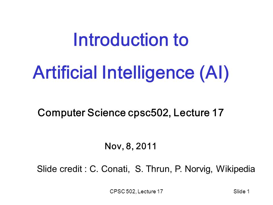 Artificial Intelligence (AI) Computer Science cpsc502, Lecture 17