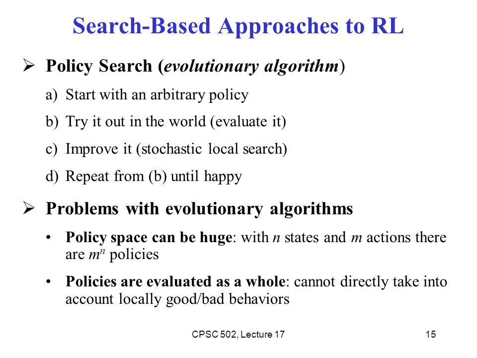 Search-Based Approaches to RL