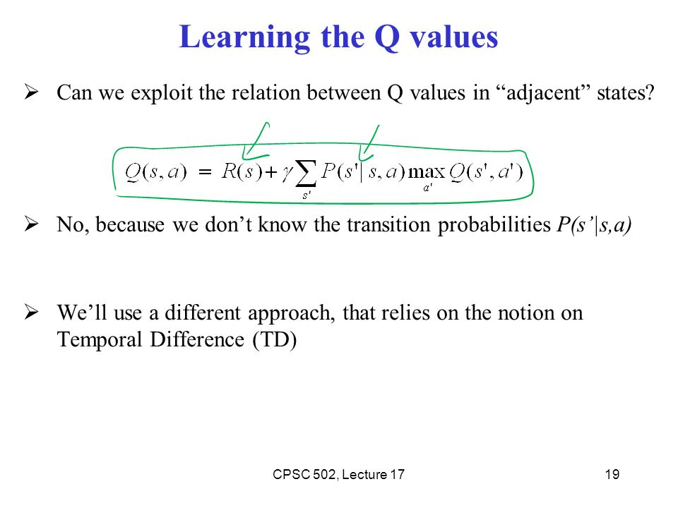 Learning the Q values Can we exploit the relation between Q values in adjacent states