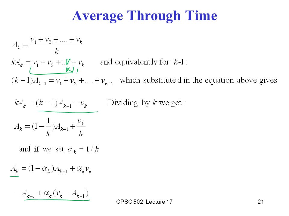 Average Through Time CPSC 502, Lecture 17
