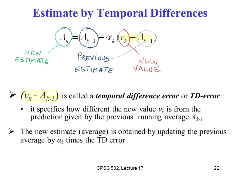 Estimate by Temporal Differences